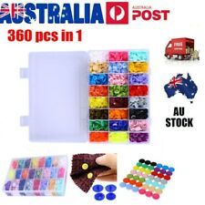 360 Sets KAM Snap Kits Plastic No-Sew Snaps Fastener Buttons Press Stud Set T5