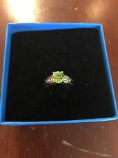 Green Peridot and natural white vvs diamond ring set in solid 14k size 7.5