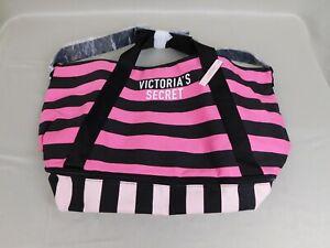Victoria's Secret Logo Weekender Getaway Zipper Tote Bag - Pink-Black #1034