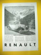 PUBLICITE DE PRESSE RENAULT AUTOMOBILE NERVASTELLA 8 CYLINDRES PANORAMA 1931