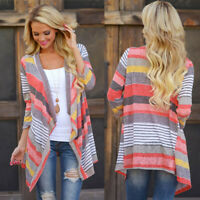 Women Striped Print Kimono Cardigan Ladies Beach Open Front Top Long Coat Jacket