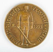 1933 PRAGUE World Championship Ice Hockey GamesTHIRD PLACE BRONZE AWARD MEDAL