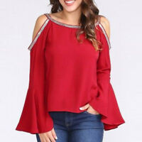 Women's Fashion Casual Blouse Glitter Off Shoulder Flare Sleeve T-shirt Top