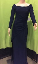 NWT- Laundry-Shelli Segal- Off-the-Shoulder- Blue Jersey Gown- Long Sleeve-Dress