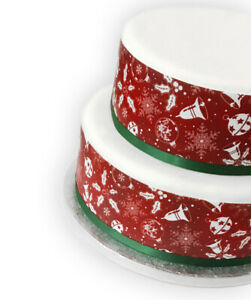 A4 Decor Icing Sheet Christmas Red White Holly Bell Border Edible Cake Topper