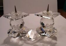 Heavy Swarovski Crystal Double Pin Candlestick Stand Taper Holder