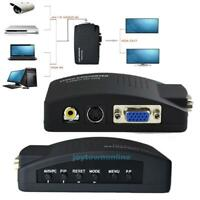 AV RCA Composite S-video Input to VGA Output Monitor Converter Adapter CCTV #JT1