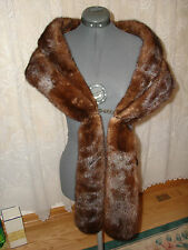 Vtg Nice Custom Styled Two In One Long Short Natural Brown Mink Fur Stole Collar
