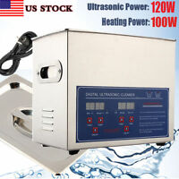 3L 120W STAINLESS STEEL DIGITAL HEATED INDUSTRIAL ULTRASONIC PARTS CLEANER US
