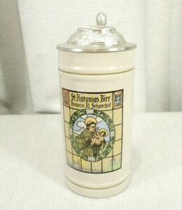 Rastal 0.5 L Liter Stein featuring St. Antonius Bier Lidded, EXC!