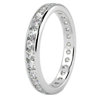 18CT WHITE GOLD 1.00CT DIAMOND FULL ETERNITY WEDDING RING SIZE R