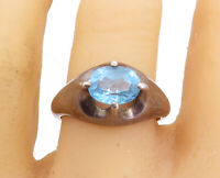 925 Sterling Silver - Vintage Prong Set Blue Topaz Cocktail Ring Sz 10 - R18159