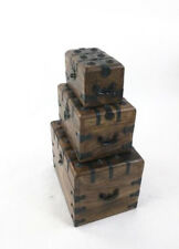 """Pirate Treasure Chest 11"""" Set of 3 Nested Wooden Trinket Boxes Nautical Decor"""