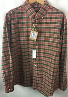 Cremieux Shirt Size XL Red Plaid Everyday Oxford Long Sleeve 100% Cotton A48
