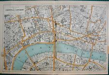 1912 Ca LARGE MAP-BACON -CENTRAL LONDON-9 INCHES:1 MILE