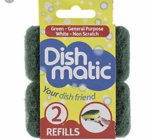 2 X  Dishmatic Green Refill Sponges Washing Up Hinch