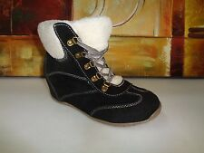 Womens lace-up Sporto Sneakers Comfort Rivet Hidden Wedge Heel High 8M
