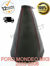 FORD MONDEO MK3 2003-2006 LEATHER GEAR STICK GAITER COVER - RED STITCH