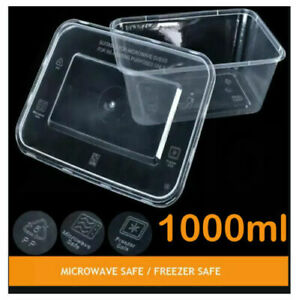 8 X Plastic Food Containers Takeaway  Microwave Freezer Safe Storage Boxes+LIDS