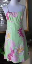Nine West Lime/Pink Cotton Stretch Empire Dress 6