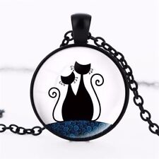 Retro Shabby Cat Art Crystal Glass Pendant Necklace Jewelry Gift Bag - Black