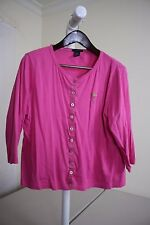 Mudo Sport 100% Cotton Pink Button Down 3/4 Sleeve Knit Top Size - Extra Large