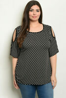 Black and White Polka Dot Cold Shoulder Plus Size Tunic Top 2XL New