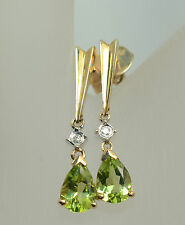 10k Peridot Dangle Earrings