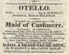 *EARLY BALLET & OPERA: 1833 FANNY ELSSLER & MARIA MALIBRAN OTELLO PROGRAM*