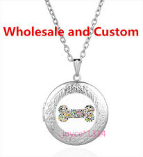 Vintage dog bone Cabochon Tibetan silver Glass Locket Pendant Necklace HZ-4637