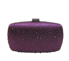 Anthony David USA Purple Satin & Crystal Clutch Evening Bag