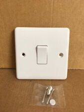 Single Gang Light Switch 1 Gang  2 Way White Plastic 10A Wall Switch