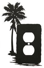 Palm Tree Single Outlet Cover Plate Black
