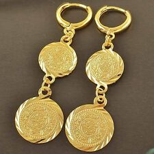24K Yellow Gold Filled Womens Coin Charm 50mm Long Dangle Punk Earrings