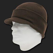New Brown Ski Visor Beanie Hat Cap Knit Skull Winter Jeep Snowboard Hats Beanies