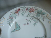 Antique VICTORIAN ERA HAND PAINTED CAKE PLATE RIBBON HANDLES BUTTERFLY FLOWERS