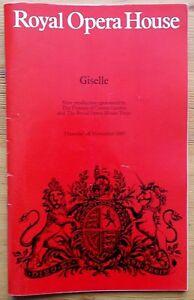 Giselle ballet programme Royal Opera House Covent Garden 28 November 1985