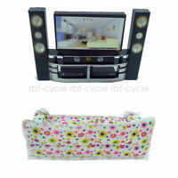 Hi-Fi TV Theater Cabinet + Sofa Cushions Furniture for Barbie Doll House Room