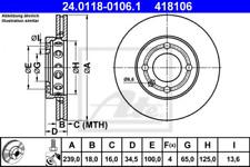2x Bremsscheibe für Bremsanlage Vorderachse ATE 24.0118-0106.1