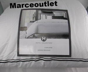 Hotel Collection Coordinated Basics Embroidered Frame KING Comforter Charcoal