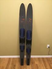 "Lot of 2 LAKE REGION Slalom Den-M Denim Jean Graphic Wood Water Skis 67"" VTG USA"