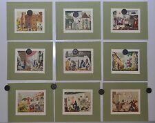 Henri LEMARIE(1911-1991) 9 bois gravés coloriés mains au pochoir- Heures Claires