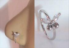 Butterfly Seamless Nose Jewelry Hoop Ring Clear Crystal Gem Wings 20 gauge 20g