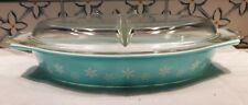 Vintage Pyrex Turquoise Snowflake 1-1/2 Qt Divided Casserole Dish Glass Top