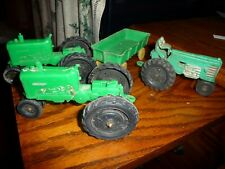 Vintage Auburn Rubber Toys Green Hard Rubber Toy Tractors 1950's-60's - Nice!
