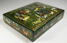 FABULOUS SUFFERING MOSES PAPIER MACHE ANIMALS LACQUERED TRINKET BOX FROM INDIA