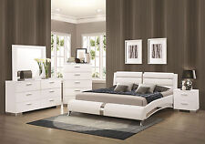 STANTON-Ultra Modern 5pcs Glossy White King Size Platform Bedroom Set Furniture