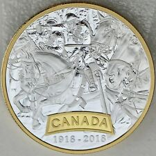 2018 $20 First World War Allies: Canada, 1 oz. Pure Silver Selective Gold Plated