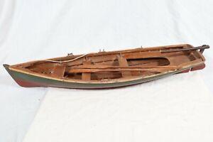 "Vintage Handmade Wooden Large Model Row Boat 22"" Rowing Boat Skiff"