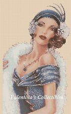 Cross Stitch Chart ART DECO LADY in Blue Dress -  No.1-162 (Large Print)